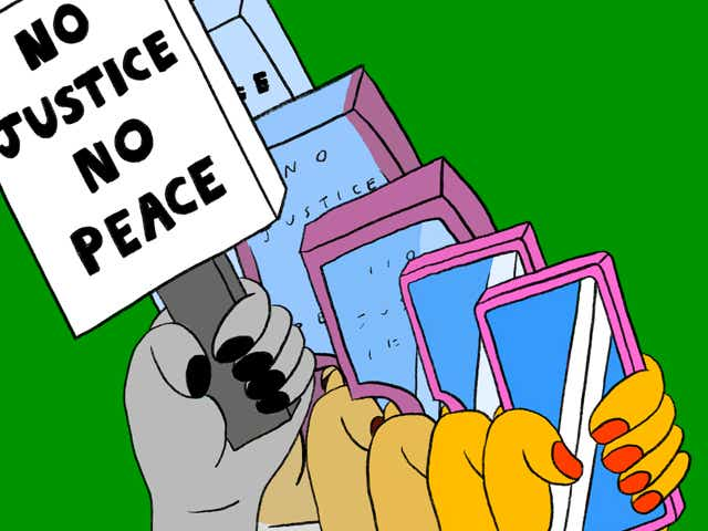 """Illustration of a hand holding a """"No Justice No Peace"""" protest sign that turns into a hand holding a cellphone."""