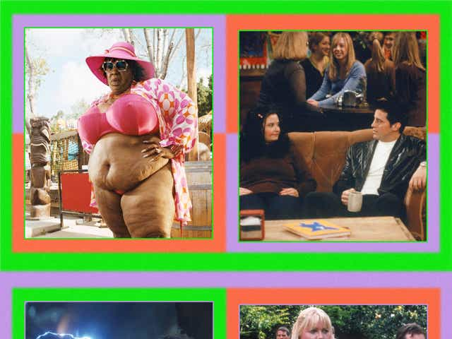 """A quadrant of photos: Top left is Eddie Murphy wearing a fat suit and pink bikini in Norbit. Top right is """"Fat Monica"""" on Friends, seated on the couch at Central Perk with Joey. Bottom right is Gwyneth Paltrow in a fat suit in Shallow Hal, and bottom left is """"Fat Thor"""" in Avengers: Endgame."""