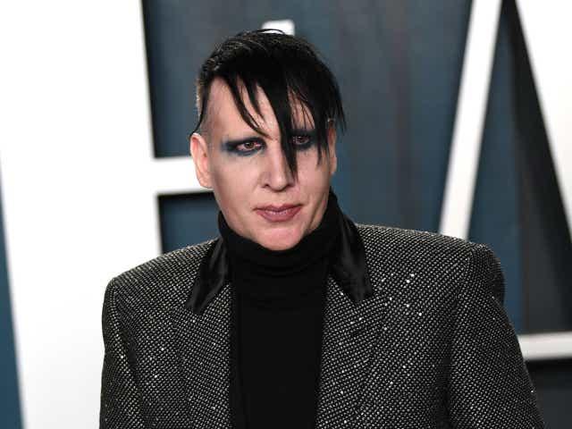 Marilyn Manson arriving for the 2020 Vanity Fair Oscar Party.