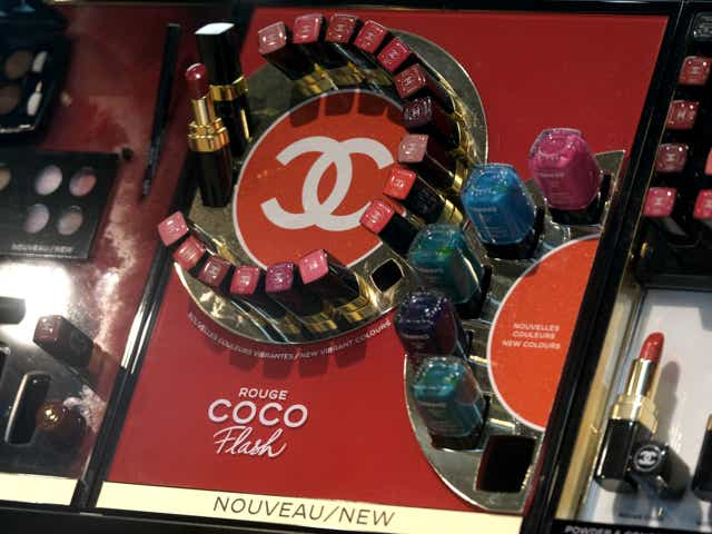 Makeup on display at a Chanel store.