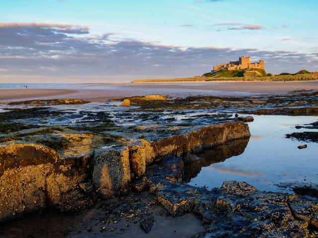 Bamburgh beach and castle in Northumberland