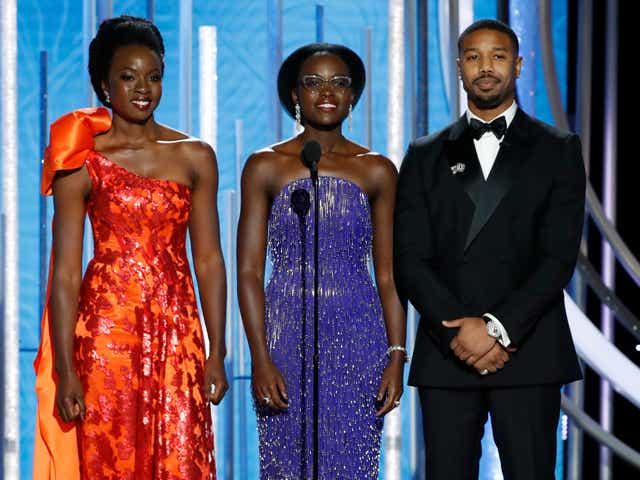 Danai Gurira, Lupita Nyong'o and Michael B. Jordan speak onstage during the 76th Annual Golden Globe Awards.