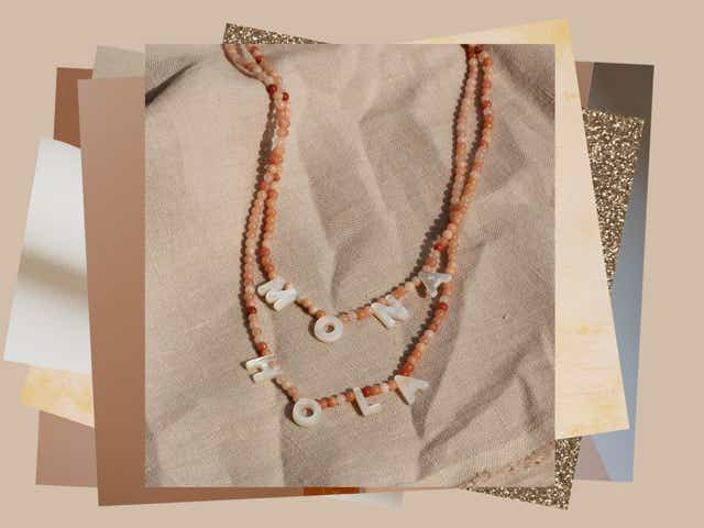 Collage of textures and photo with necklace with 'Mona' in beads