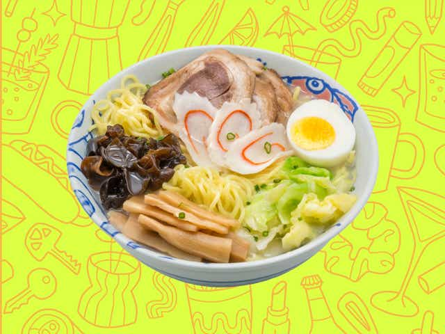 A bowl of ramen over a yellow background with orange line drawings of various objects Money Diarists purchase.