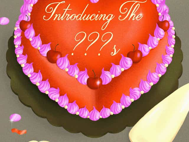 """Illustration of a heart shaped cake that reads """"Introducing The ???'s""""."""