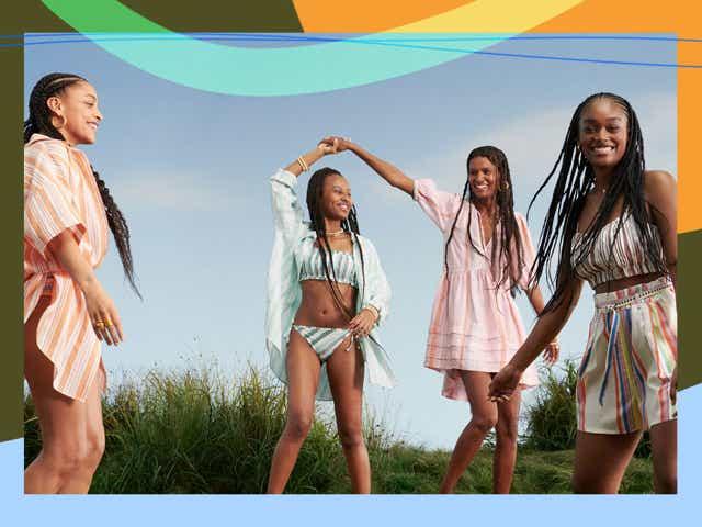 Models (including super Kiya Lebede) wearing looks from H&M's collaboration with artisan brand Lemlem.