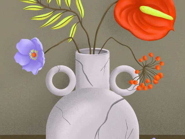 Illustration of a broken vase with drooping flowers.