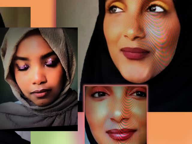 Images of Zeynab and Aisha wearing different types of their Eid Makeup looks on a colourful designed background