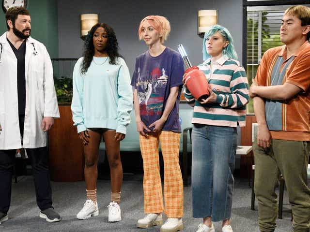 """Saturday Night Live cast during the """"Gen Z Hospital"""" sketch on Saturday, May 8, 2021"""