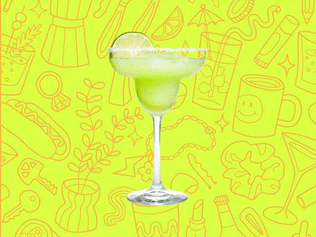 A margarita over a yellow background with orange line drawings of various objects Money Diarists purchase.