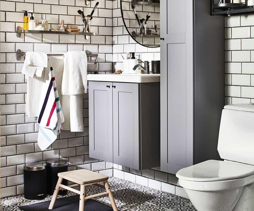 Grey and white IKEA bathroom.