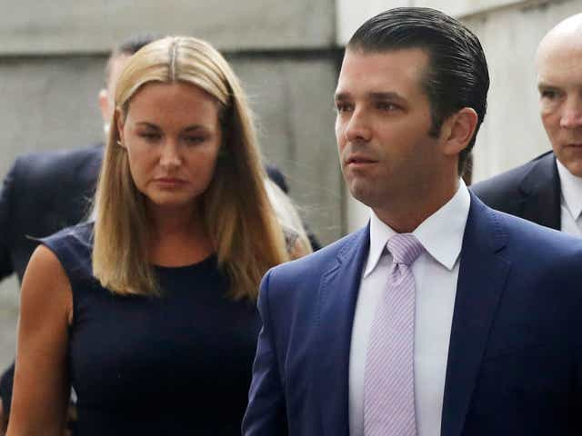 Donald Trump Jr. and his wife Vanessa arrive for a divorce hearing, in New York.