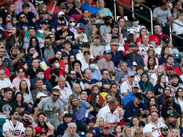 A full capacity crowd was on hand for the Saturday night MLB game between the Atlanta Braves and the Philadelphia Phillies.
