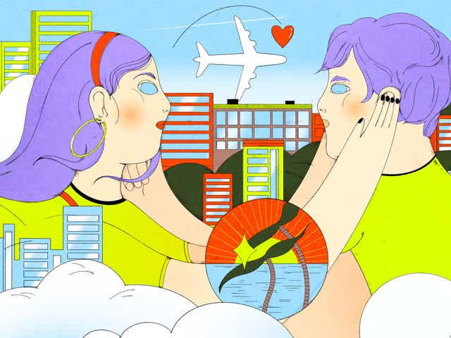 Two figures embrace in a surreal illustration that shows different travel possibilities