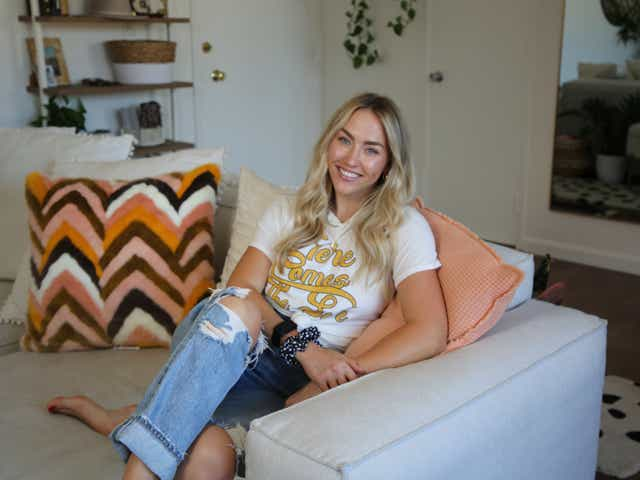 influencer sitting on couch