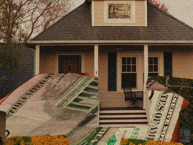 house and money collage
