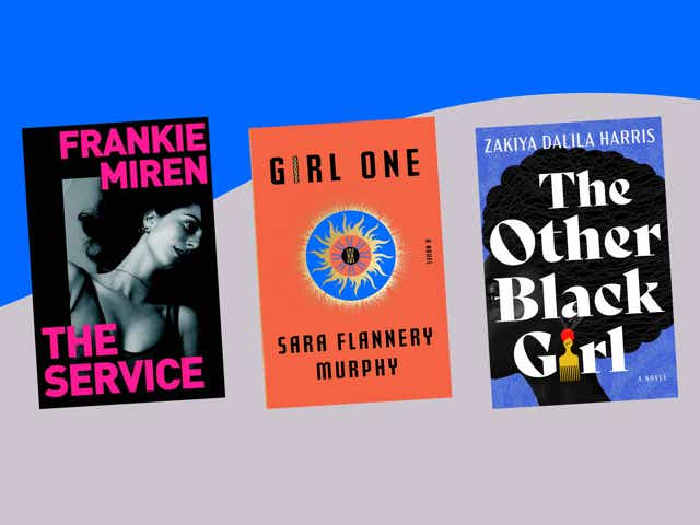 Book covers of The Butchers by Ruth Gilligan, The Service by Frankie Miren, The Other Black Girl by Zakiya Dalila Harris, and Girl One by Sara Flannery Murphy