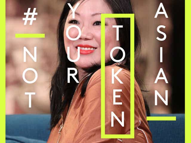 A photo of Margaret Cho with the text Not Your Token Asian overlaid onto it.