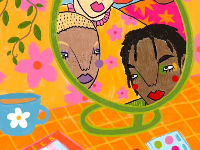 Colourful illustration of 4 people looking into a mirror all wearing makeup. The mirror is standing on a desk that has a cup of tea, book with the word queer on it and some makeup scattered around