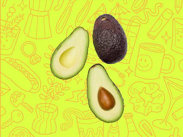 Avocados over a yellow background with orange line drawings of various objects Money Diarists purchase.
