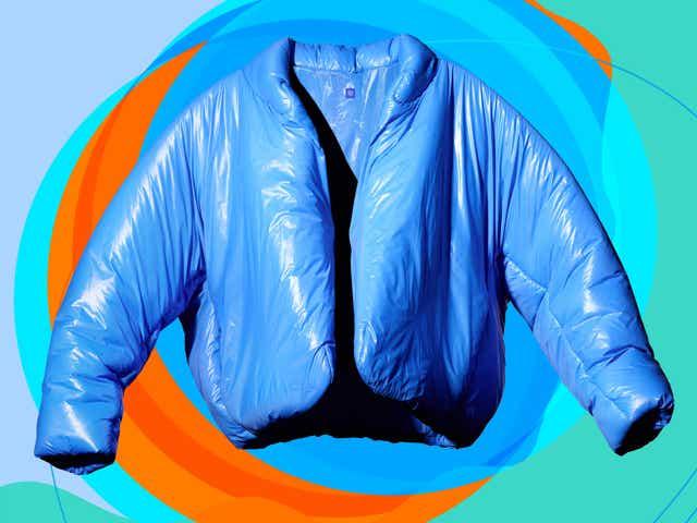 Cobalt blue puffer coat from Yeezy Gap.