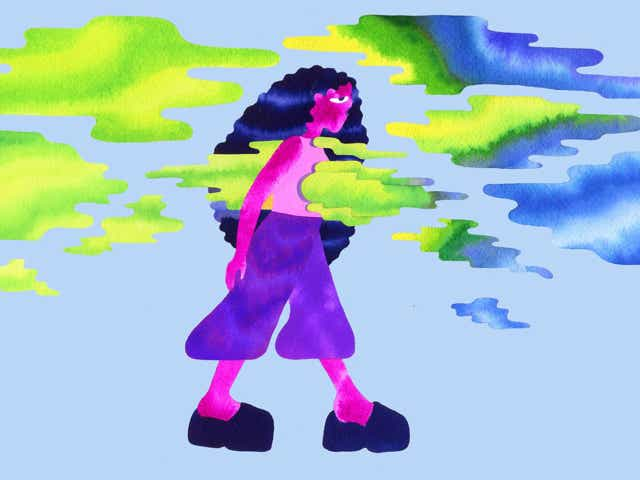 An abstract illustration of a woman walking through clouds and breathing
