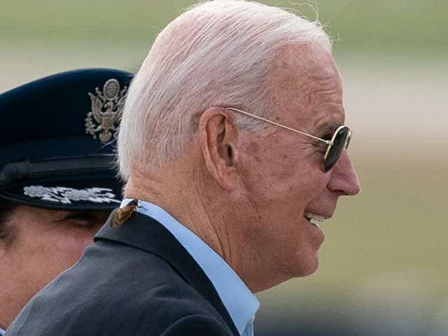 President Joe Biden, with a brood X cicada on his back, walks to board Air Force One.