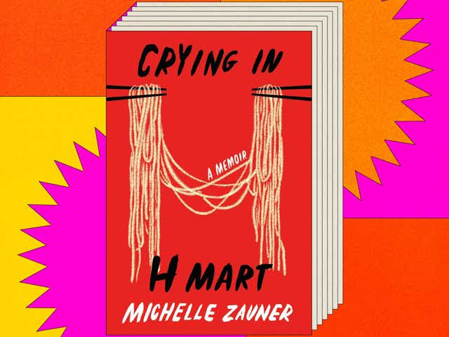 Cover of Crying in H Mart by Michella Zauner on colourful background