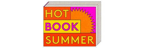 Words HOT BOOK SUMMER on colourful background
