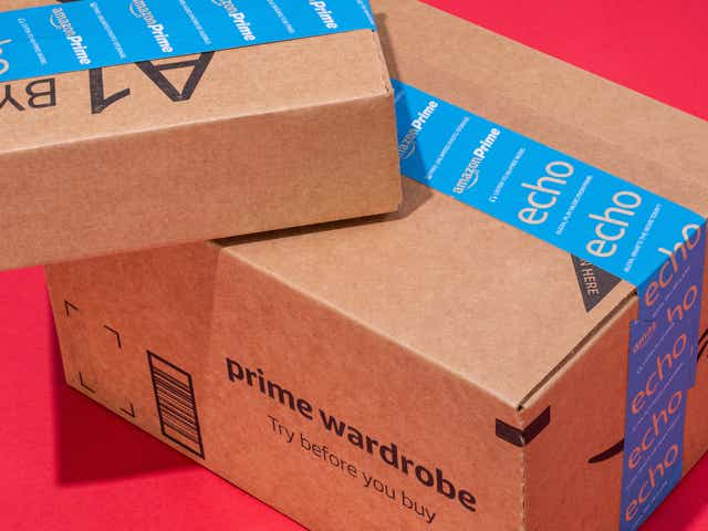 Amazon boxes on a red background
