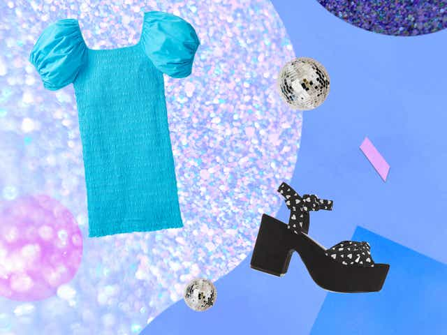 Collage of a black sandal and a blue dress