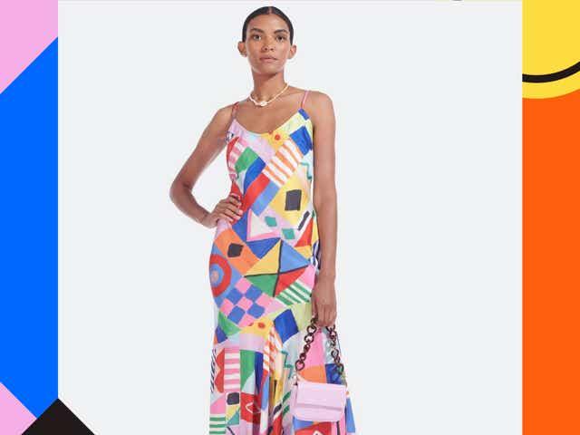 Verishop model in colorful slip dress.