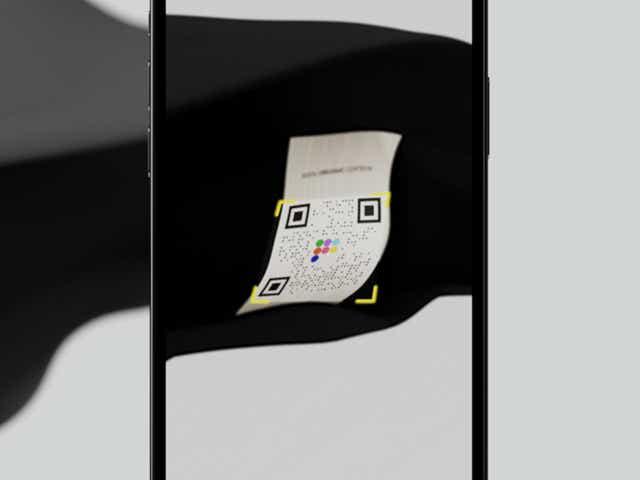 QR code on an iPhone screen.