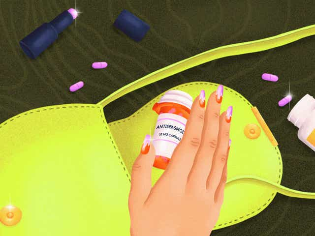 Illustration of a woman's hands reaching out for antispasmodic medication, there also an iced coffee, lipstick, small purse and iron pills on the table.