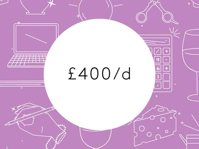 """A white circle with """"£400/d"""" appears on a purple background with white outlines of laptops, keys, calculators, and other money related objects."""