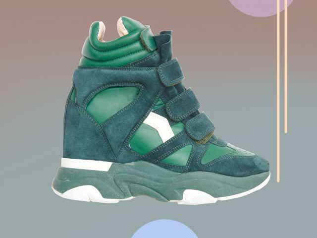 Green suede Isabel Marant wedge sneakers.