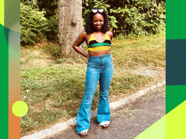 Sarai Thompson wears a Jamaican flag crochet top with jeans and platform shoes