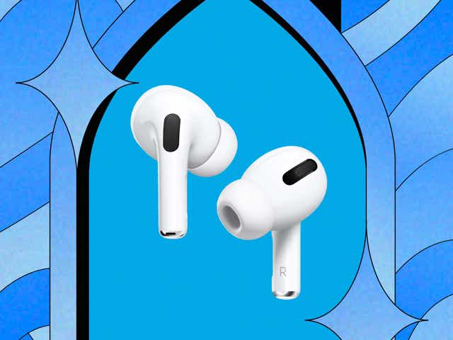 Apple AirPods Pro against a designed border
