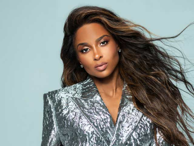 Singer Ciara in a silver suit jacket