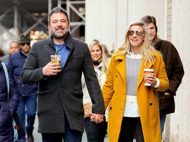 Ben Affleck and Lindsay Shookus enjoy coffee while holding hands.