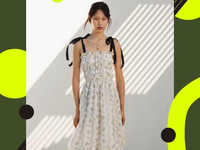 model wears a floral dress with ribbons from h&m x brock collection