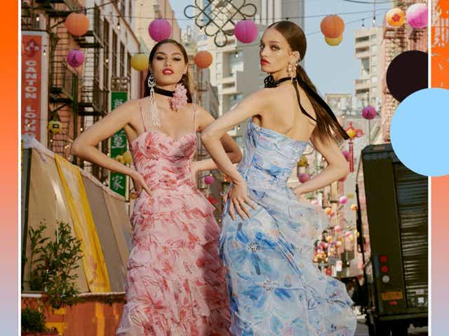models wear pink and blue ruffled dresses by prabal gurung