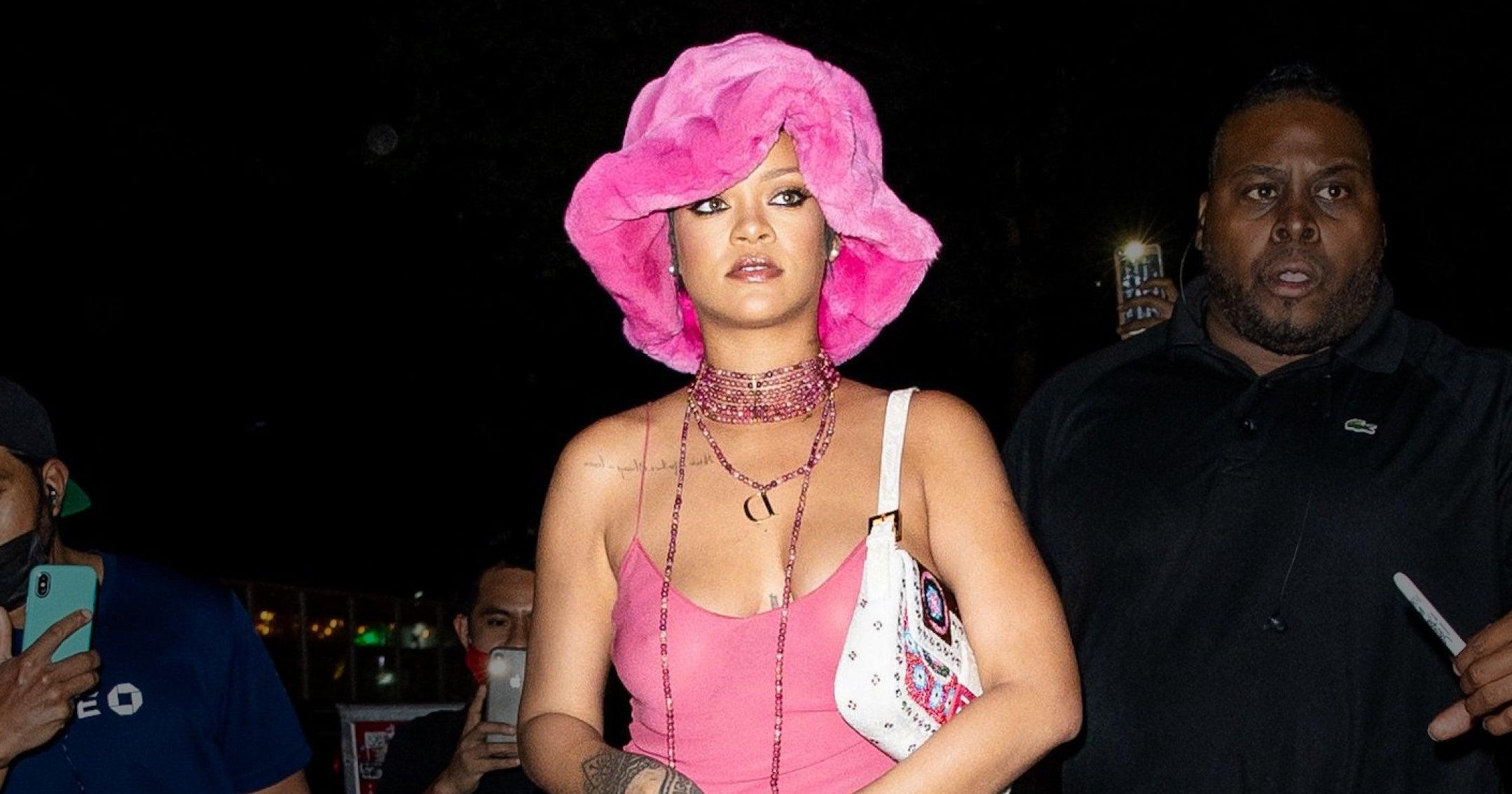 Rihanna's Slip Dress & Fuzzy Bucket Hat Combo Is Straight From The '90s