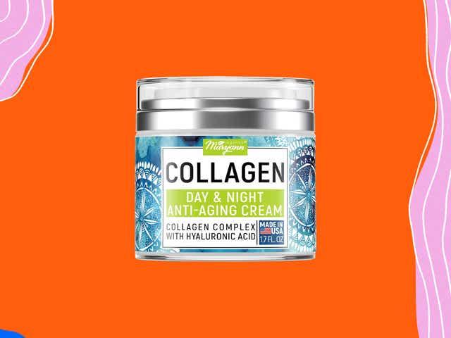 Jar of collagen cream against an orange background
