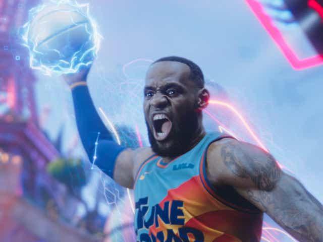 LeBron James dunking a basketball