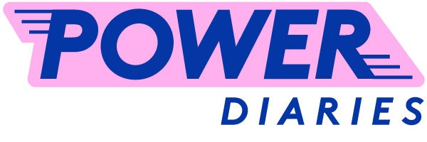 """A pink and blue logo that reads """"Power Diaries"""""""
