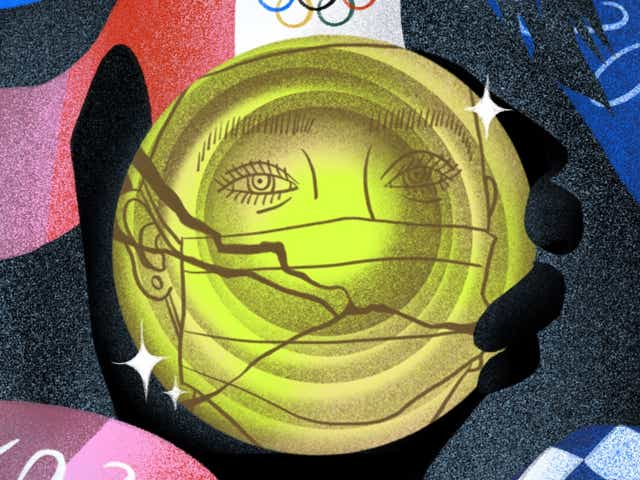 An olympic athlete's reflection in a broken gold medal with torn ribbon.