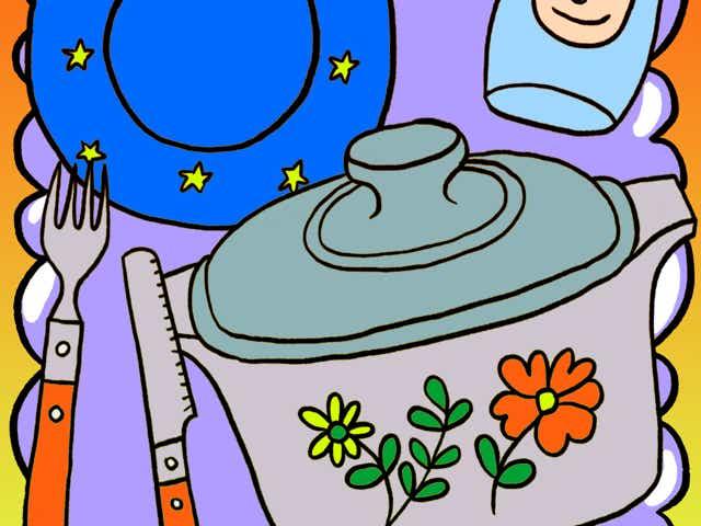 Illustration of nostalgic flatware on a purple cloud