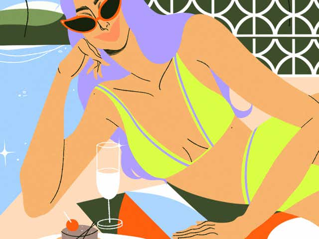 An illustration of a woman on vacation at a pool