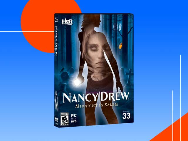 A Nancy Drew: Midnight In Salem computer game set against and abstract background.